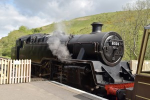 Steam locomotive at Swanage station, Dorset